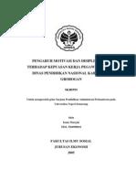 Pengaruh Motivasi Dan Disiplin Kerja Terhadap Kepuasan Kerja Pegawai Kantor Dinas Pendidikan Nasional Kabupaten Grobogan