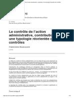 Le contrôle de l'action administrative, contribution à une typologie réorientée des contrôles