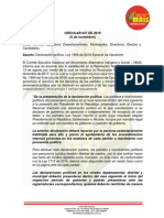 CIRCULAR 037 DE 2019, Estatuto de Oposición