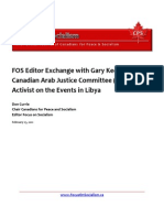 FOS Editor Exchange with Gary Keenan Canadian Arab Justice Committee (ADALA) Activist on the Events in Libya