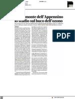 Da un monte dell'Appennino gli studi sul buco dell'ozono - Il Corriere Adriatico del 23 febbraio 2021