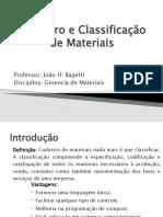 Aula 3 - Cadastro e Classificação de Materiais