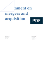 Assignment on    mergers and acquisition