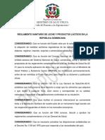 REGLAMENTO SANITARIO DE LECHE Y PRODUCTOS LÁCTEOS EN LA REP DOM