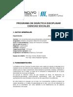 Programa de Didáctica disciplinar de las Ciencias Sociales 2019