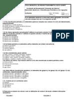 Avaliação de Recuperação Trimestral, Ligações Quimicas, Elementos Quimicos e Classificação Periodica