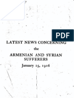 Latest News Concerning the Armenian and Syrian Sufferers January 25 1916