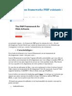 Les Principaux Frameworks PHP Existants