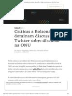 Críticas a Bolsonaro dominam discussão no Twitter sobre discurso na ONU _ Aos Fatos