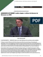 AGRESSIVO OU FIRME_ Confira Elogios e Críticas Do Discurso de Bolsonaro Na ONU _ Blog Do BG