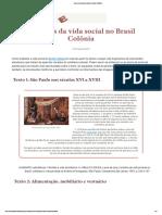 Aspectos da vida social no Brasil Colônia