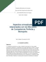 aspectos conceptuales relacionados con los Mercados de Competencia Perfecta y Monopolio.