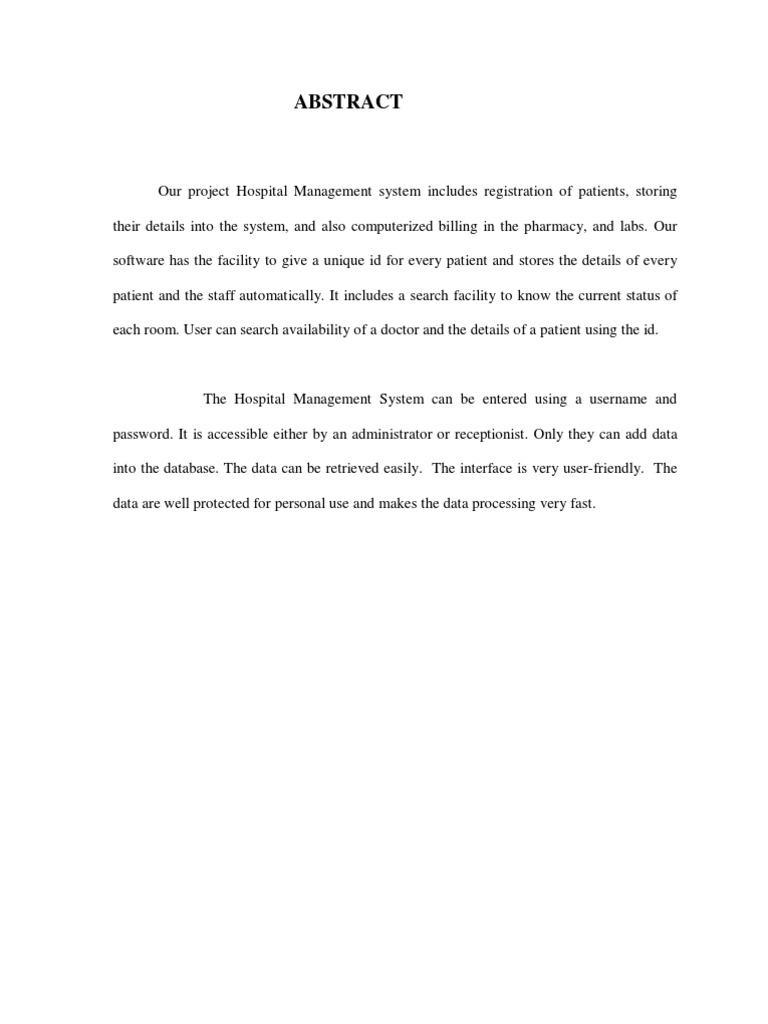 hospital management system abstract microsoft access microsoft