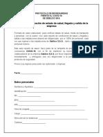 Protocolo de Bioseguridad Encuesta de Ingreso y Egreso de La Empresa