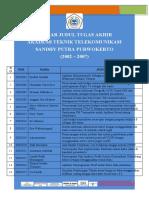 Daftar Judul Tugas Akhir akatel 2002-2007