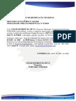AVISO DE RETIFICAÇÃO DO EDITAL PREGÃO PRESENCIAL SRP Nº 067.2020