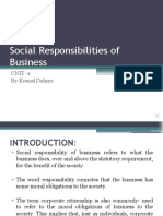 Social Responsibilities of Business UNIT 1 MCA
