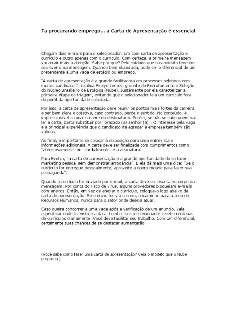 carta de apresentação estagio - Pertamini.co