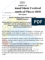 Audition Call International Music Festival Nei Suoni Dei Luoghi
