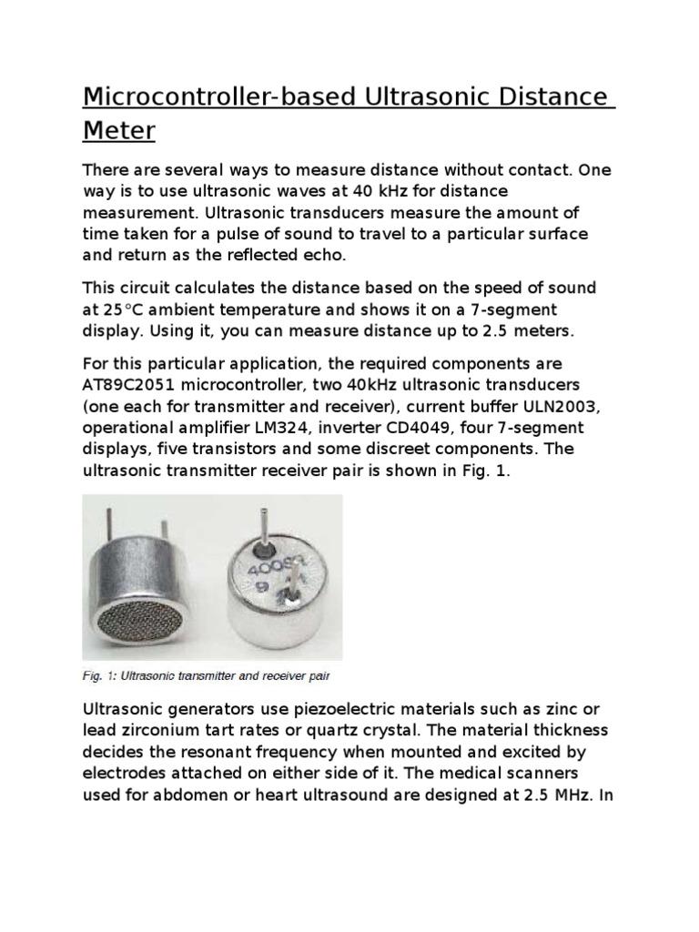 Ultrasonic Distance Meter Ultrasound Amplifier Receiver Circuit