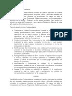 Modificaciones presupuestarias y los tipos de modificaciones presupuesatrias