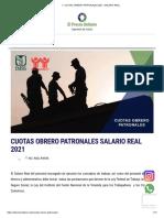 ▷ CUOTAS OBRERO PATRONALES 2021 -SALARIO REAL
