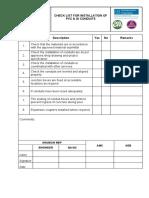 CHECKLIST for Installation of PVC & GI Conduits