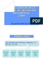 Trd, Tabla de Retencion Documental Para Archivo...