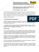 EDITAL PRODIC-UNEAL No  030-2020 - TURMA 6 - 2021