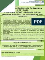 Programa de Residência Pedagógica (PRP) 2020 (Divulgação)