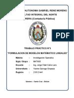 """""""Planteamiento de Elementos Del Modelo Matemático Lineal"""""""