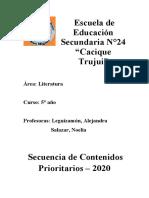CONTENIDOS PRIORITARIOS 5 AÑO LITERATURA