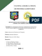 INFORME 3. DETERMINACIÓN DEL COEFICIENTE CONVECTIVO EN EL CALENTAMIENTO EN ESTADO NO ESTACIONARIO DE UN ALIMENTO