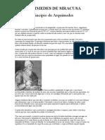 ARQUIMEDES DE SIRACUSA Princípio de Arquimedes