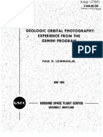 Geologic Orbital Photography - Experience From the Gemini Program
