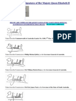 LAW - AUSTRALIA - A Comparison of Signatures of Her Majesty Queen Elizabeth II