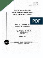 Terrain Photography From Gemini Spacecraft Final Geologic Report