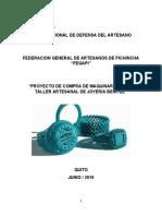 Proyecto titulación FEGAPI para artesano orfebre junta nacional del artesano