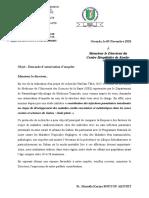 lettre d'autorisation d'enquête