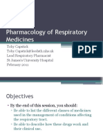 Pharmacology of Respiratory Medicines Dr Capstick Feb 2011
