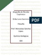 Biografia de Nicolas Copernico 2da evidencia del 1er parcial filosofia