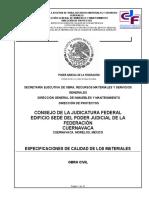 ESPECIFICACIONES CALIDAD DE LOS MATERIALES