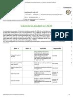 Calendario Académico 2020-2