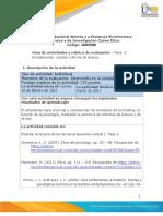 Guía de Actividades y Rúbrica de Evaluación - Unidad 1 - Fase 2 - Fundamentar - Realizar Informe de Lectura