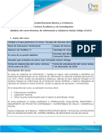 Syllabus del curso Sistemas de informacion y calidad en salud