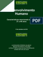 Desenvolvimento humano 21 a 40 anos
