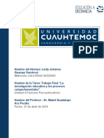 Leidy Johanna Guampe _Actividad 4.4 TRABAJO FINAL LA INVESTIGACIÓN EDUCATIVA Y LOS PROCESOS COMPORTAMENTALES