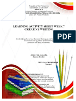 Creative Writing Learning Activity Sheet