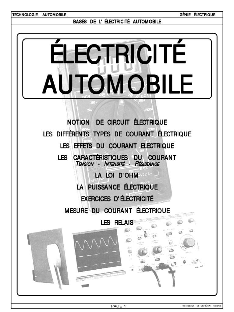 Bases de l 39 lectricit automobile for Bases de l electricite