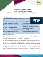 Syllabus Metodología y Técnicas de Investigación